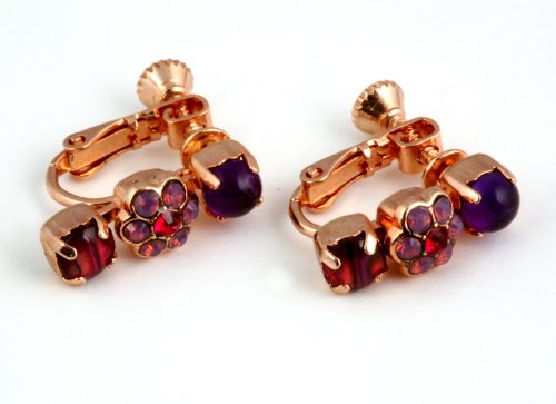 Amaro Jewelry Studio 24K Rose Gold Plated Charming Earrings from 'Winter Sunset' Collection Garnished with Flower Details, Amethyst, Garnet, Lavender, Purple Jade, Pink Abalone, Pink Agate and Swarovski Crystal Accents; Handmade in Israel