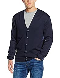 Henbury Mens V Neck Button Fine Knit Cardigan (L) (Navy)