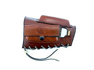 Brass Stacker MK98ACRH Rick Lowe Leather Ammo Carrier with Cheek Rest for Mauser K98 and M48 Rifles, Brown