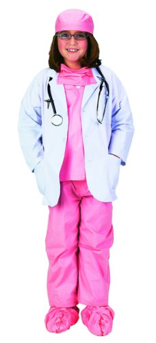 Pink Junior Physician Outfit with Lab Coat, Scrub Set, and Stethoscope,  Size 8/10