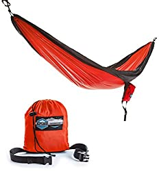 Double Parachute Camping Hammock with FREE Tree Straps by Youphoria Outdoors - Lightweight Nylon Compression Travel Hammock with Premium Wiregate Aluminum Carabiners. Red/Gray Trim