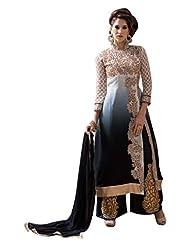 Black And Beige Designer Georgette Fancy Semi Stitched Salwar Kameez Suits