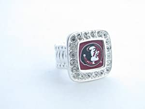 Florida State Seminoles FSU Crystals Square Fashion Stretch Ring Jewelry by Sports Accessory Store