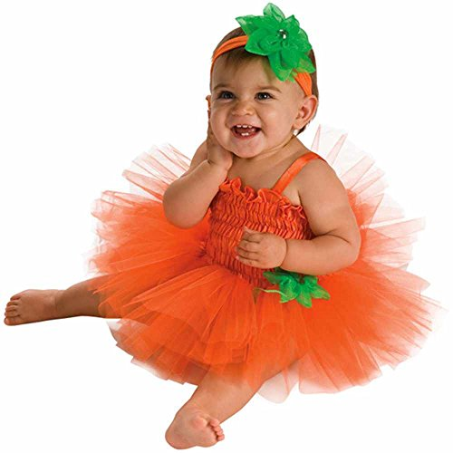 Pumpkin Tutu Dress Baby Costume - 6-9 Months