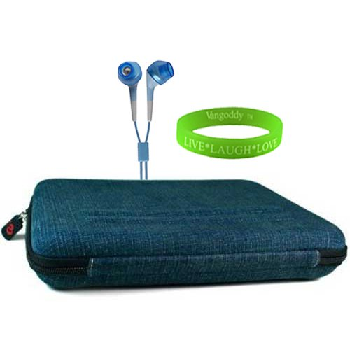 Ultra Portable and Protective Blue Case for Asus Eee Pad Transformer + Vangoddy Live*Laugh*Love Wristband + Compatible Blue Headphones