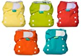 Bummis Easy Fit Tots Bots One Size Cloth Diaper 6 Pack Gender Neutral Colors with Reusable Dainty Baby Bag Bundle