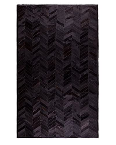 Natural Brand Stitch Hide Rug, Parquet Chocolate, 5′ x 8′