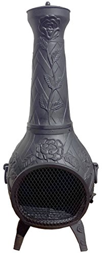 Chiminea-Outdoor-Fireplace-Wood-Burning-Rose-Design