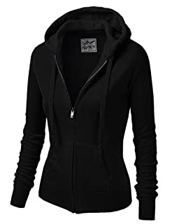 9XIS Womens Athletic Basic Long Sleeve Zip-Up Hoodie,Black,Large