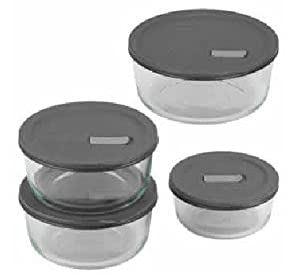 No Leak Lids Eight Piece Food Storage Vessels Set with Plastic Lids