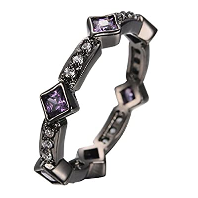 JW Collection Amethyst Anel Crystal Rhinestone Jewelry Black Gold Filled Cubic Zircon Bridal Promise Wedding Rings