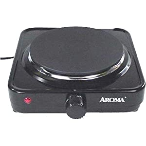 Aroma AHP-303 Single Hot Plate, Black by Aroma