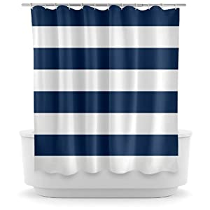 Opima Navy Blue And White Striped Shower Curtain