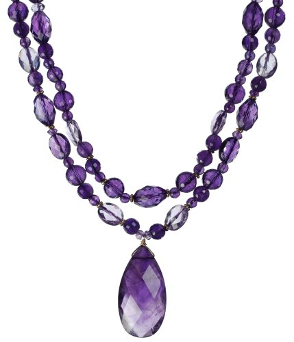 14k Yellow Gold Faceted Amethyst Necklace with Pear Shaped Pendant, 17-18
