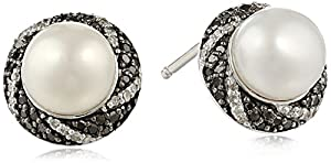 Twist-Frame Freshwater Cultured Pearl Earrings With Black and White Diamonds