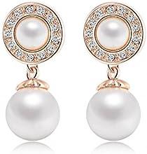 Comprar AnaZoz Joyería de Moda 18K Chapado en Oro Retro Pendiente Perlas Chapado en Oro Rosa/Chapado en Platino SWA Element Cristal Austria