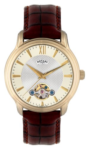 Rotary Men's Automatic Watch with Yellow Dial Analogue Display and Brown Leather Strap GS02817/50