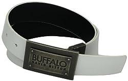 Buffalo by David Bitton Men's Layered Buckle Belt, White/Black, X-Large