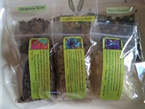 Incense Sampler: Frankincense ~ Myrrh ~ Opopanax ~ Copal ~ Kashmir ~ 6 Kinds 1/2 Oz Each ~ Ravenz Roost Resins