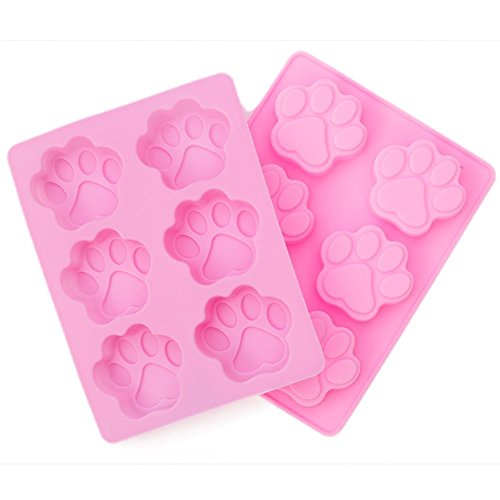 2 Pack-6 Cavity Dog Paw Non-Stick Food Grade Silicone Cake Pan Baking Mold