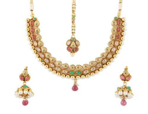Bijoux Gold Coated Polki Kundan Pearl and Color Beads Necklace Set for Women (Set GJK 0295) (yellow)