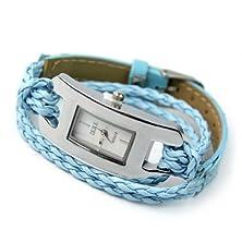 buy Fashion Women Quartz Candy Wrist Watch Braided Charm Lady Bracelet Blue Hot