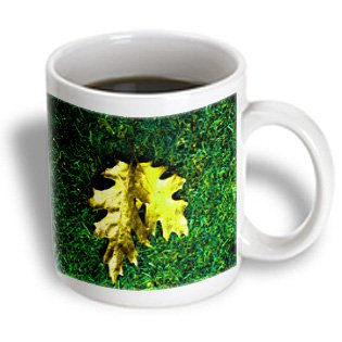 Yves Creations Colorful Leaves - Gold And Green Leaf Carpet - 15Oz Mug (Mug_36968_2)