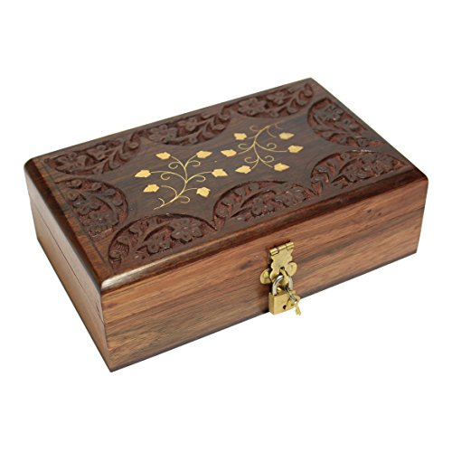 Decorative Jewelry Box With Lock Wooden Storage Keepsake Watch Box Floral Brass Inlay With Red Velvet Base & Roof 8 5 Inches Unique Birthday Gift Ideas For Women Girls