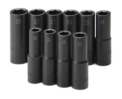 SK Hand Tools 4033 10-Piece 1/2-Inch Drive 6 Point Deep Metric Impact Socket Set