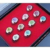 10xPCS Naruto Black Akatsuki Ring Set Sasori Itachi Hidan Deidara