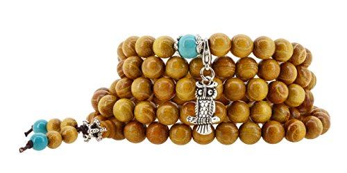 Handmade Tibetan Zen Elastic String 8mm Wood Imitation Turquoise 108 Prayer Beads Yoga Meditation Wrap Bracelet Mala with Removable Charms (Owl)