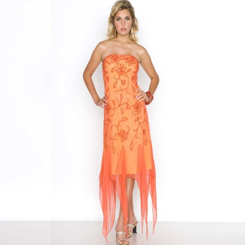 Beaded Evening Cocktail Dress - Prom Dress, Party, Formal Gown by Sean Collection (8698) Orange/Yellow L