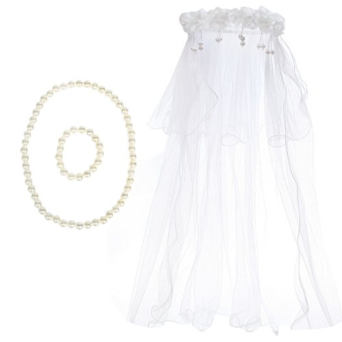 Kilofly Wedding Girls Beaded Floral Hair Wreath Veil + Necklace Bracelet Set