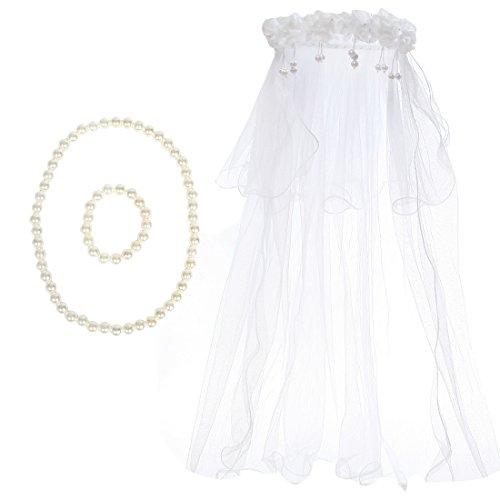 Kilofly Wedding Girls Beaded Floral Hair Wreath Veil + Necklace Bracelet Set