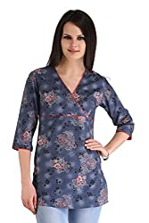 ZAIRE Women's Fashionable Printed 3/4 Sleeves Cotton Kurta Top (2130-3/4TH,Blue-Red,M)
