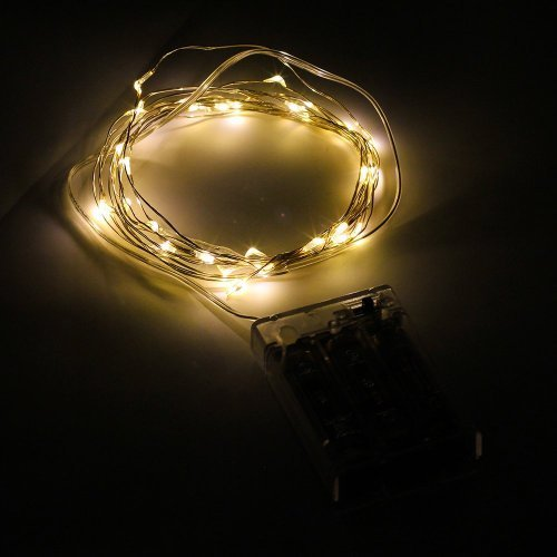 SUPERNIGHT 3x AA Battery Powered Warm white Romantic LED Silver String Starry Light Portable Decorative LED Copper Material Wire Light 30 LEDs on 3M Wire Color: 3M-Warm white Model: (Hardware & Tools Store)