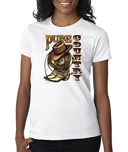 Pure Country Boots Cowboy Hat Rope Lasso Western Rodeo Ladies T-Shirt S-2XL
