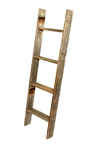 brand new barnwoodusa rustic reclaimed old wooden bookcase 4 foot ladder ebay. Black Bedroom Furniture Sets. Home Design Ideas