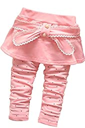 Baby Girl\'s Toddler 1 Piece Bowknot Polka Dot Culottes Pants Leggings(L,Pink)