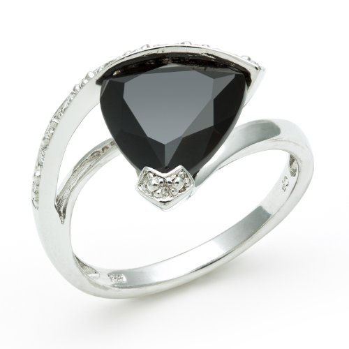 Sterling Silver Diamond Swirl and Onyx Triangle Gemstone Ring, Free Shipping and Gift Box