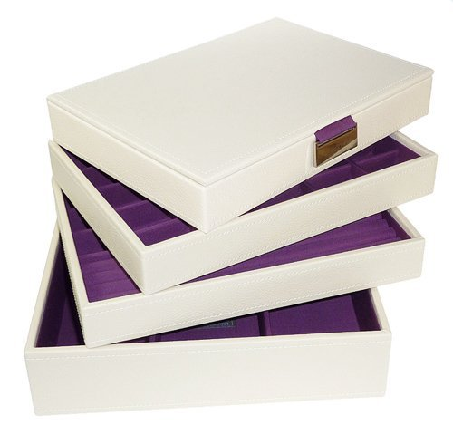 Cream Purple Stackers Jewellery Box COMPLETE