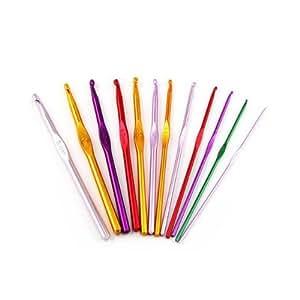 SODIAL(TM) 12 Sizes Multi coloured Aluminum Crochet Hooks Needles Set 2mm-8mm