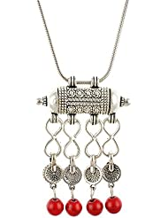 Aaishwarya Antique Oxidized Silver Tibetan Red Pendant Necklace For Women & Girls