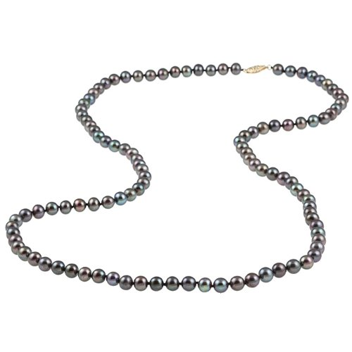 DaVonna Black Freshwater Pearl 30-inch Strand (6.5-7 mm)