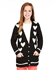 Deep V-Neck Heart Cardigan