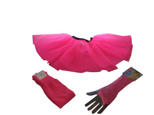 Neon Pink Tutu Set - Tutu + Leg warmers + Fishnet