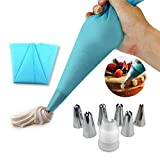 Silicone Pastry Bags Reusable,Deluxe Cupcake Decorating Tip Set - Extra Large Stainless Steel Decorating Tips,Kitchen Baking Tool Utensil 6 Pack