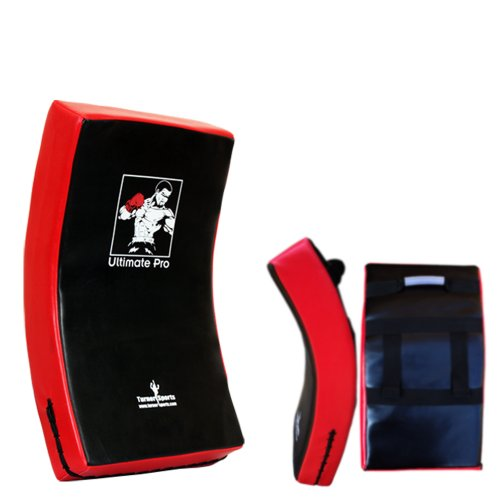 BOXING KICK PAD STRIKE SHIELD CURVED RED/BLK MARTIAL ARTS