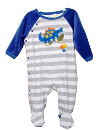 Amazon Absorba Baby Boys Grey Striped Velour Footed