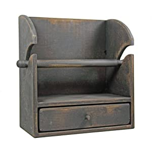 Country Rustic Primitive Paper Towel Holder/shelf W/drawer BlK